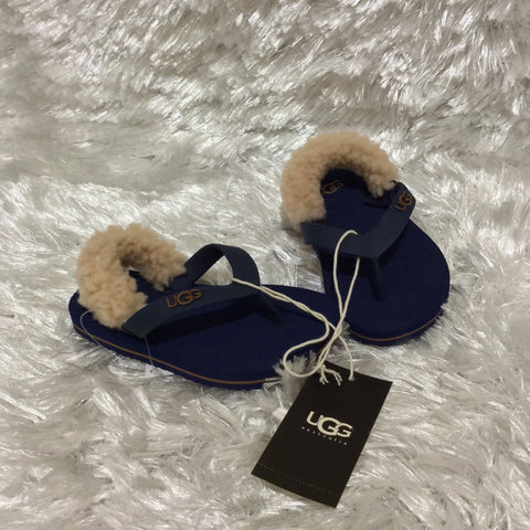 Navy Blue Cream Lamb Fur Rubber UGG Yia Yia sandal