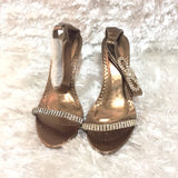 Gold open toe bow Delicacy stilettos
