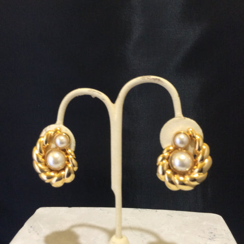 Gold Tone- Shell shaped -with reproduce- pearl Vintge -Prototype Earings