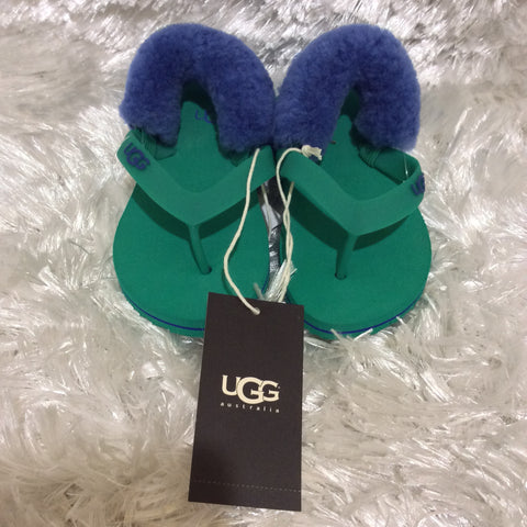 Green Blue lamb Fur Rubber UGG Yia Yia sandal