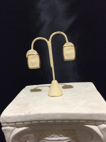 Rectangular Shaped Cream and Gold Toned Vintage Monet Earrings