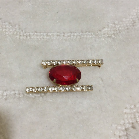 Vintage Magenta Red /Clear Austrian Crystal Brooch