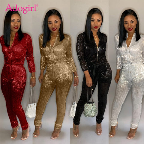 Adogirl S-3XL Gilding Women Turtleneck  Jumpsuit Long Sleeve