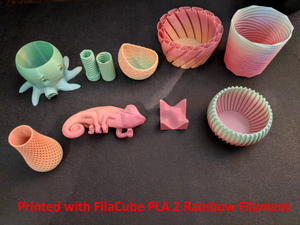 2.85mm 1KG Rainbow FilaCube 3D Printer PLA 2 filament transition gradient multiple color multicolor splendid 3mm