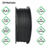 1.75mm 2KG-spool Black FilaCube 3D Printer PLA 2 filament