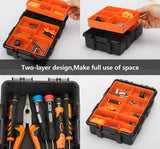 Tooltoo-Heavy-duty-Tool-Storage-Box-Organizer-Detachable-10-Slots-Plastic-Tool-Storage-Box-Two-layer-Components-Storage-Box-Black-and-Orange-3
