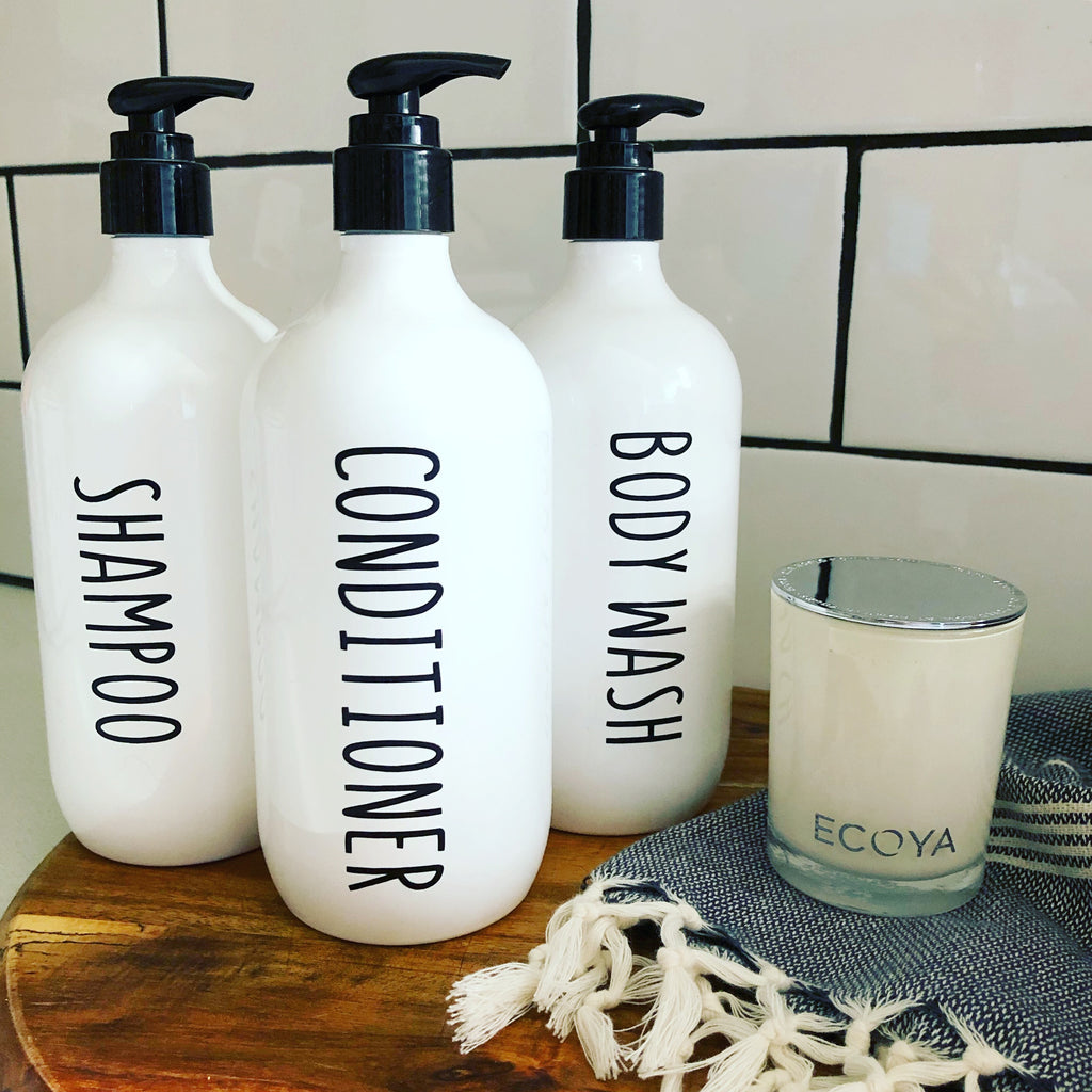 Bathroom Bottles- White