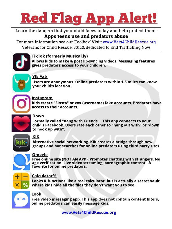 Red Flag App List – Vets 4 Child Rescue