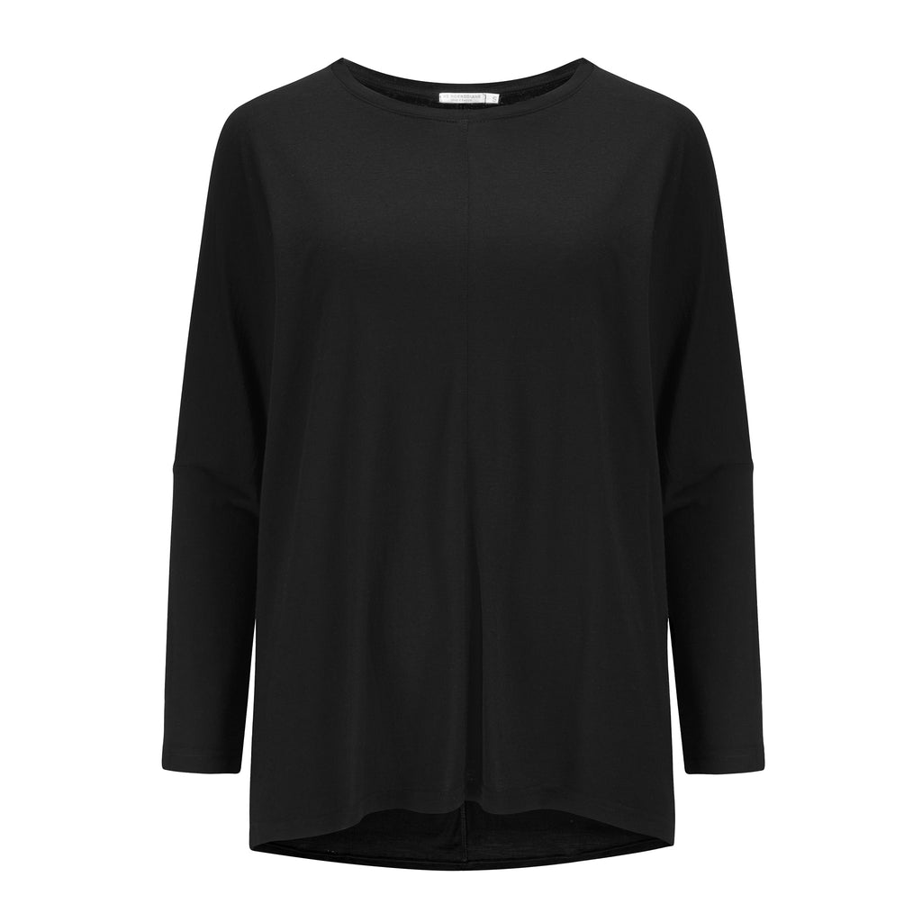 Foss Boxy Top Merinoull - Tencel Oversized Topp Dame Sort