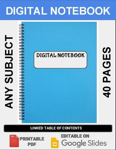 Digital Notebook For Any Subject (40 Pages - Google Slides) - Roombop