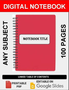 Digital Notebook For Any Subject (100 Pages - Google Slides) - Roombop