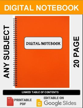 Digital Notebook For Any Subject (20 Pages - Google Slides) - Roombop