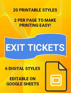 6 Digital Exit Tickets & 20 Printable Exit Tickets - Roombop