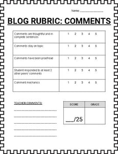 Blogger - Post Rubric and Comment Rubric - Roombop