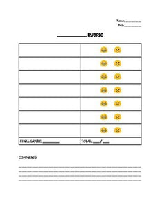 Emoji Rubric Template Editable in Google Docs - Roombop