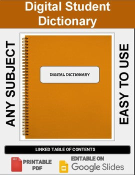 Digital Student Dictionary (Editable on Google Slides) Distance Learning - Roombop