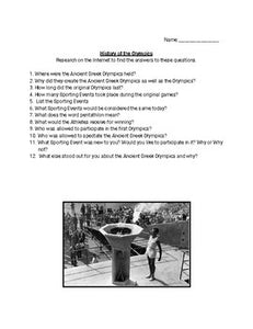 Webquest: Olympic History - Roombop