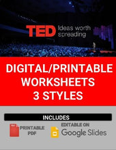 Load image into Gallery viewer, Digital/Printable TED Talk Worksheets (Editable in Google Slides) - Roombop
