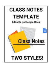 Load image into Gallery viewer, Class Notes for Students Template (Editable in Google Docs) - Roombop