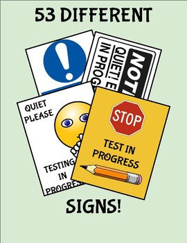 53 Test/Exam in progress Signs - Roombop