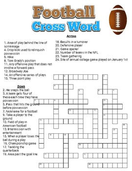 Football Crossword - Roombop