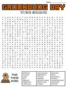 Groundhog Day Word Search: 3 Difficulties - Roombop