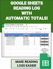 Load image into Gallery viewer, Digital Reading Logs (Editable in Google Sheets) - Roombop