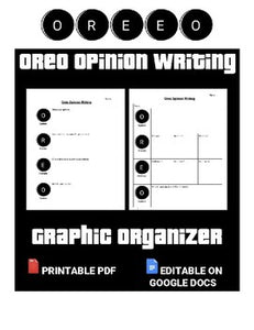 Oreo Opinion Writing Graphic Organizer (Editable in Google Docs) - Roombop