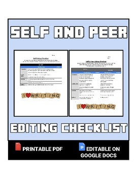 Self and Peer Editing Checklist (Editable in Google Docs) - Roombop