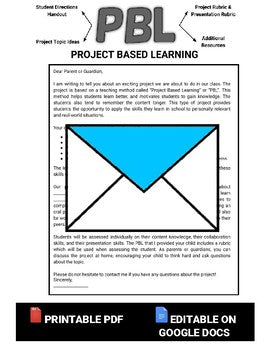 Project Based Learning Letter to Parents (Editable in Google Docs) - Roombop