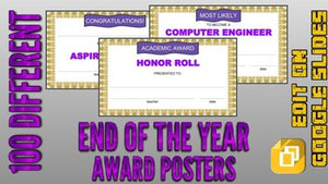 End of the Year Award Posters (Editable in Google Slides) - Roombop
