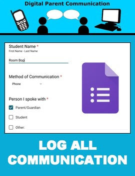 Digital Parent Communication Log (Google Forms) - Roombop