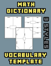 Load image into Gallery viewer, Math Dictionary Vocabulary Template - Roombop
