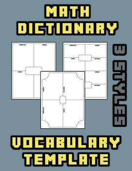 Math Dictionary Vocabulary Template - Roombop