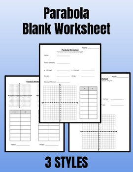 Parabola Blank Worksheets - Roombop