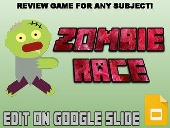 Zombie Race Review Game (Editable in Google Slides) - Roombop