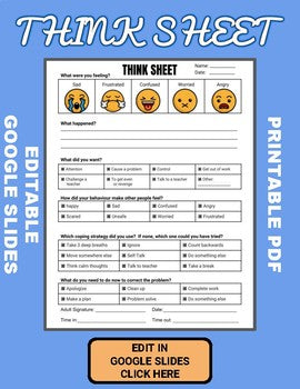 Think Sheet (Editable in Google Slides) - Roombop