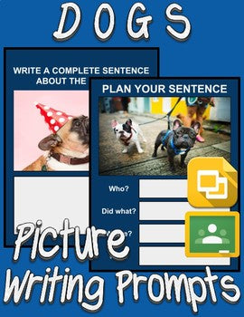 Dogs Picture Prompt Writing (Google Classroom) - Roombop