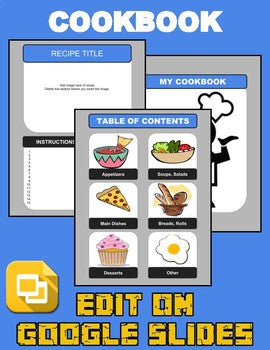 Cookbook Template (Editable in Google Slides) Distance Learning - Roombop