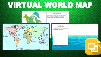 Virtual World Map (Editable in Google Slides) - Roombop