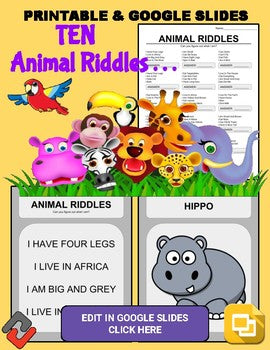 Animal Riddles: Who Am I Handout & Google Slide - Roombop