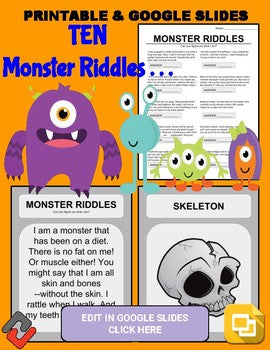 Halloween Monster Riddles: Who Am I Handout & Google Slide - Roombop