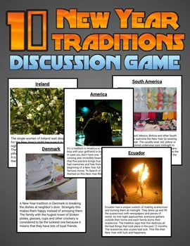 10 New Year Traditions: Discussion Game (Editable in Google Slides) - Roombop