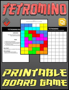 Tetromino Printable Board Game (Editable Google Slides) Distance Learning - Roombop