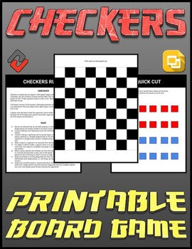 Checkers Printable Board Game (Editable Google Slides) Distance Learning - Roombop