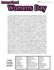 International Women's Day Word Search: 3 Difficulties - Roombop