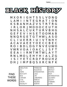 Black History Month Word Search: 3 Difficulties - Roombop