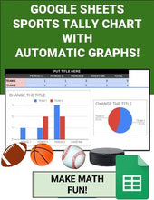 Load image into Gallery viewer, Sports Tally Chart with Automatic Graphs (Editable in Google Sheets) - Roombop