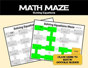 Solving Equations Math Maze Worksheet - Roombop