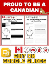Load image into Gallery viewer, Proud To Be a Canadian: All About Me Worksheet (Editable in Google Slides) - Roombop